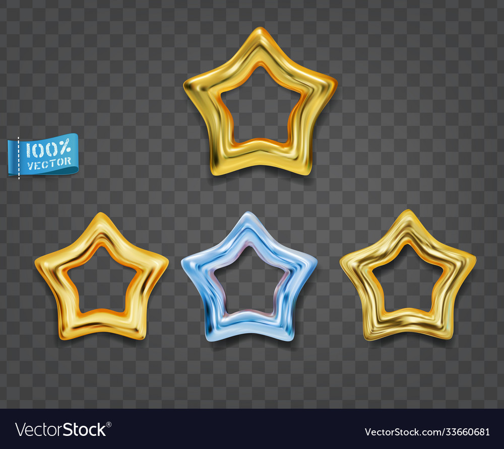 Gold and blue stars isolated on gray background