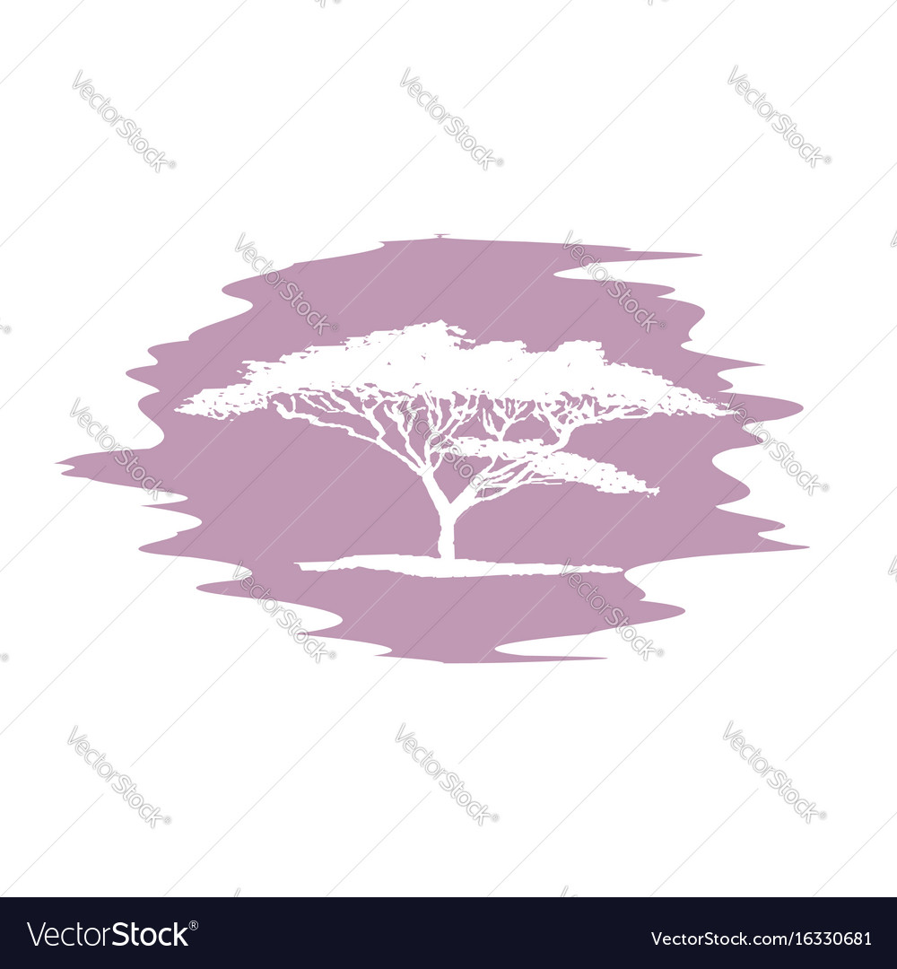 Hand drawing sketch of acacia tree logotype vector image