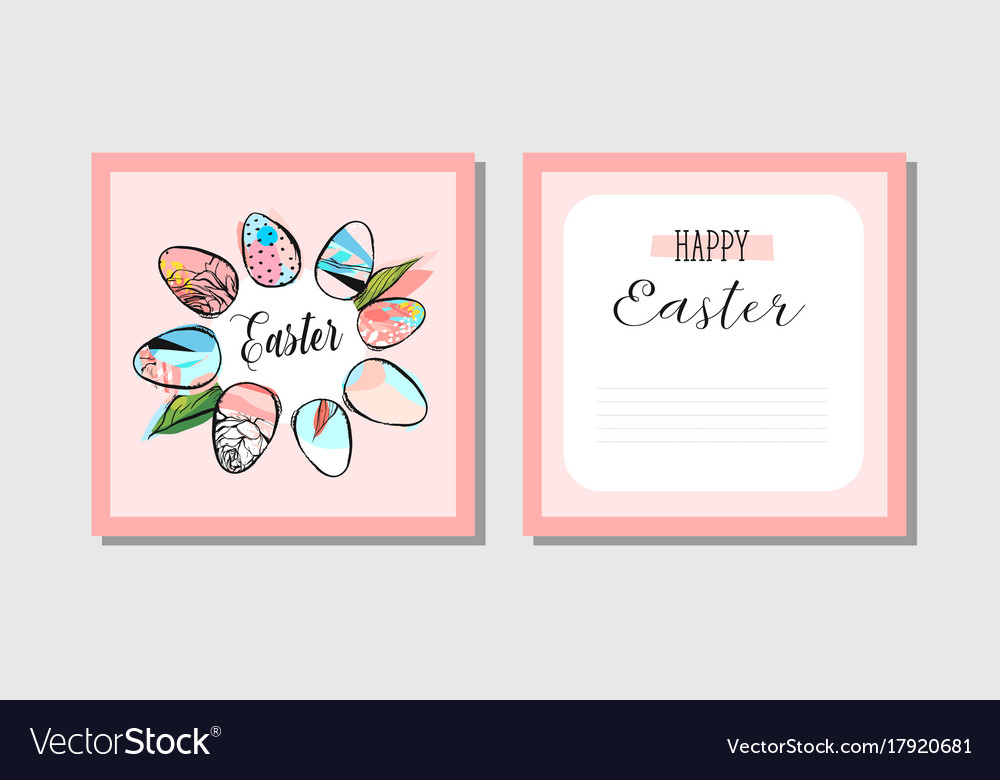 Hand drawn abstract creative happy easter