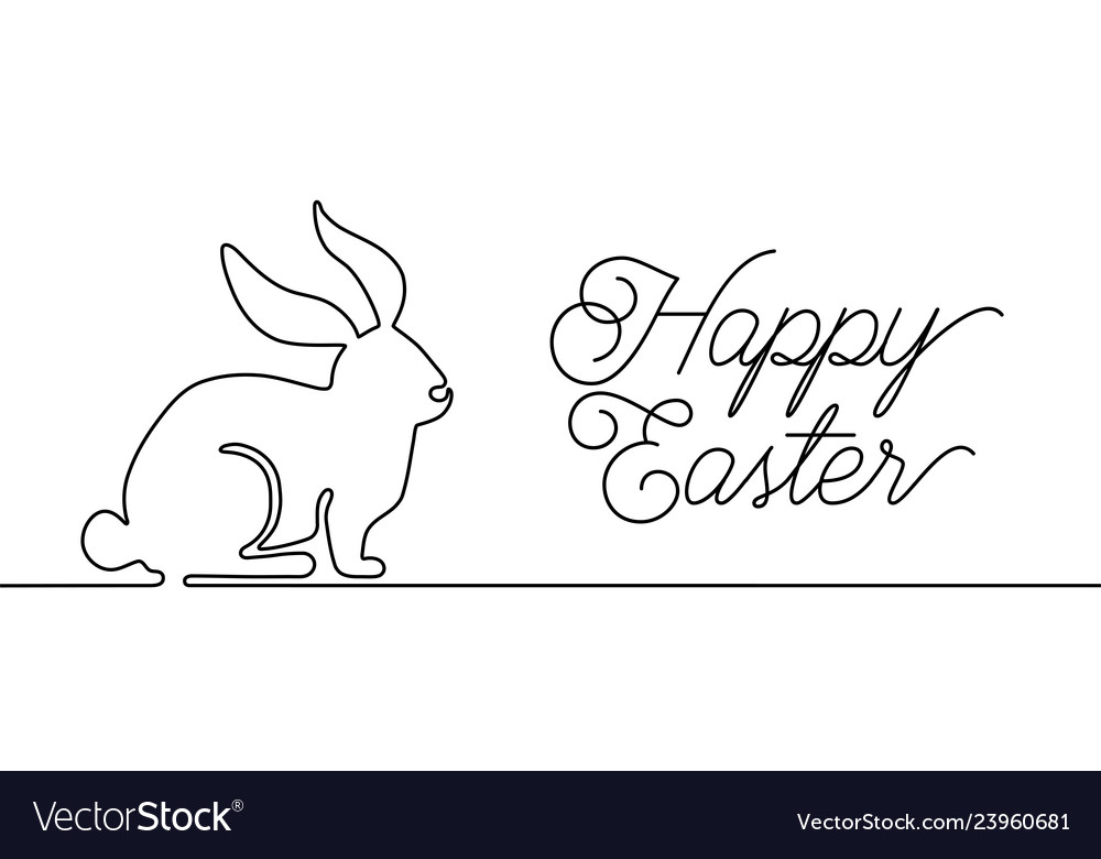 Happy easter bunny greeting card in simple one