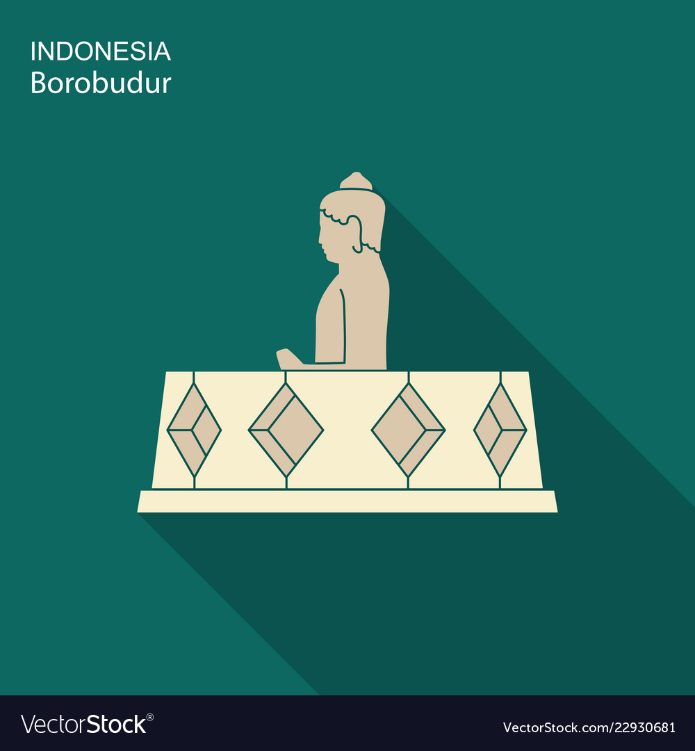 Indonesian borobudur ancient temple flat icon
