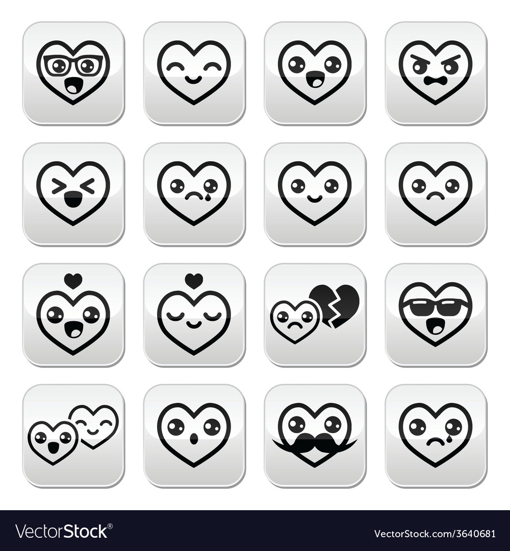 Kawaii hearts Valentines Day cute buttons vector image