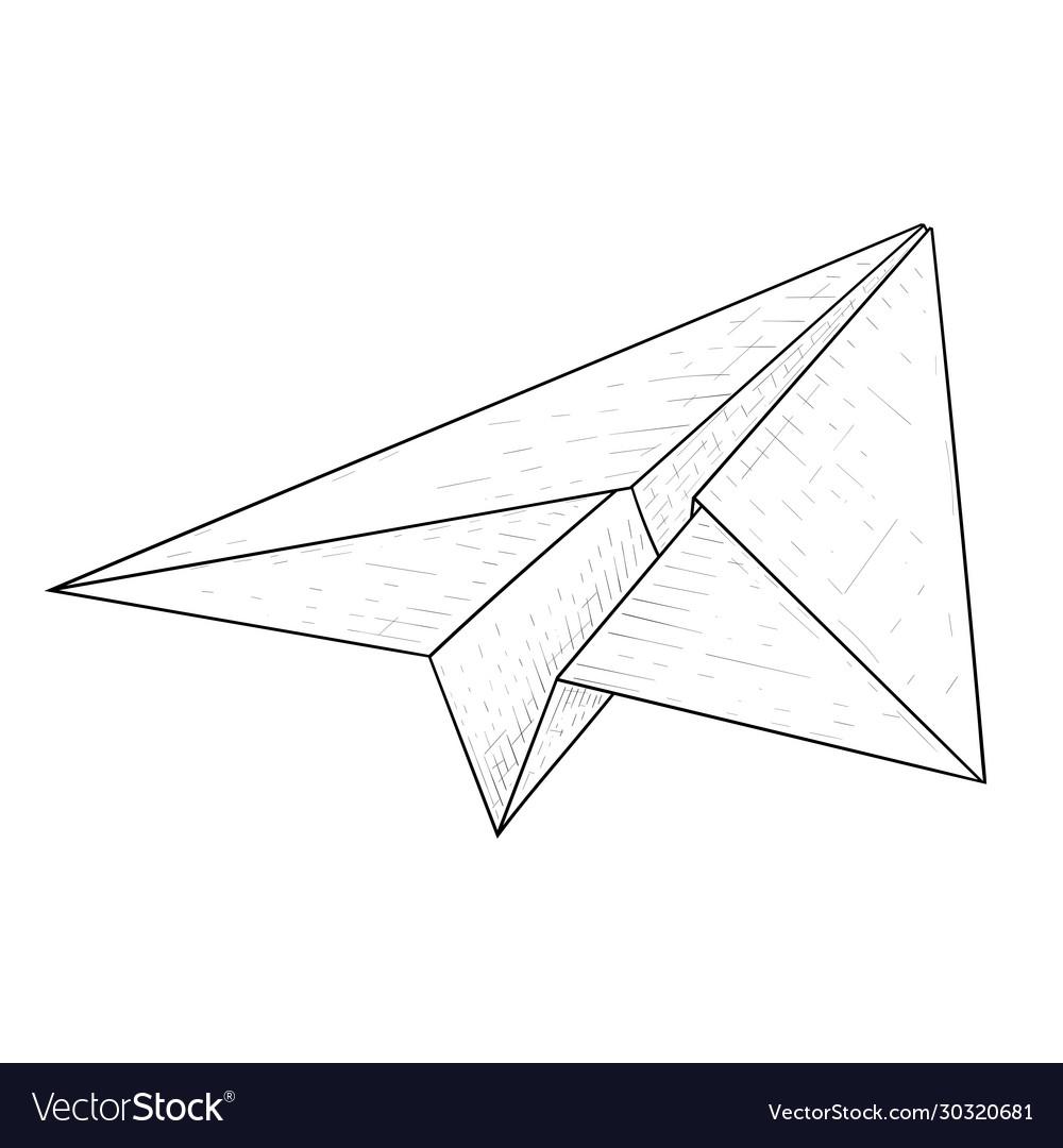 Paper airplane hand drawn sketch