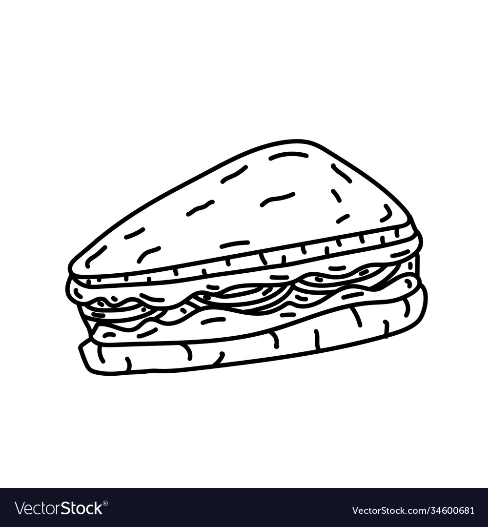 Sandwich icon doodle hand drawn or black outline