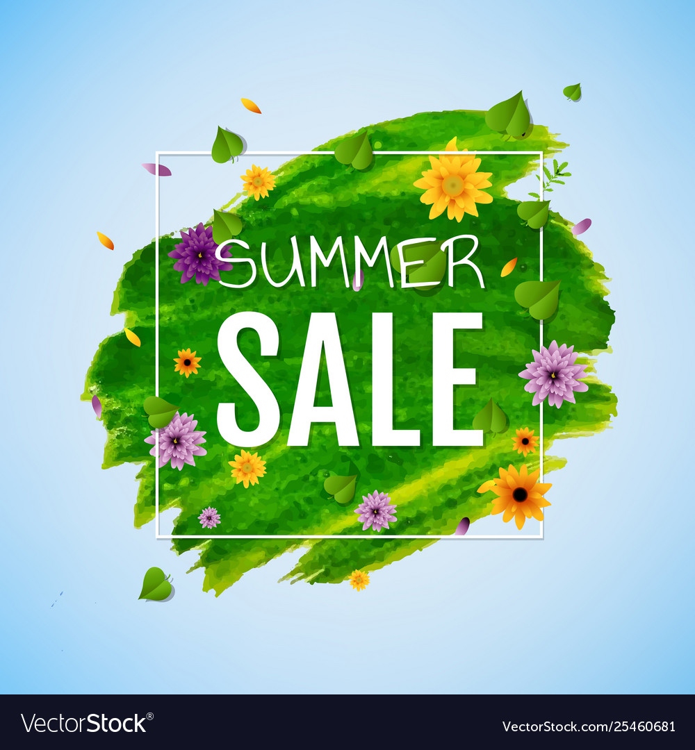 Summer banner with flower transparent background