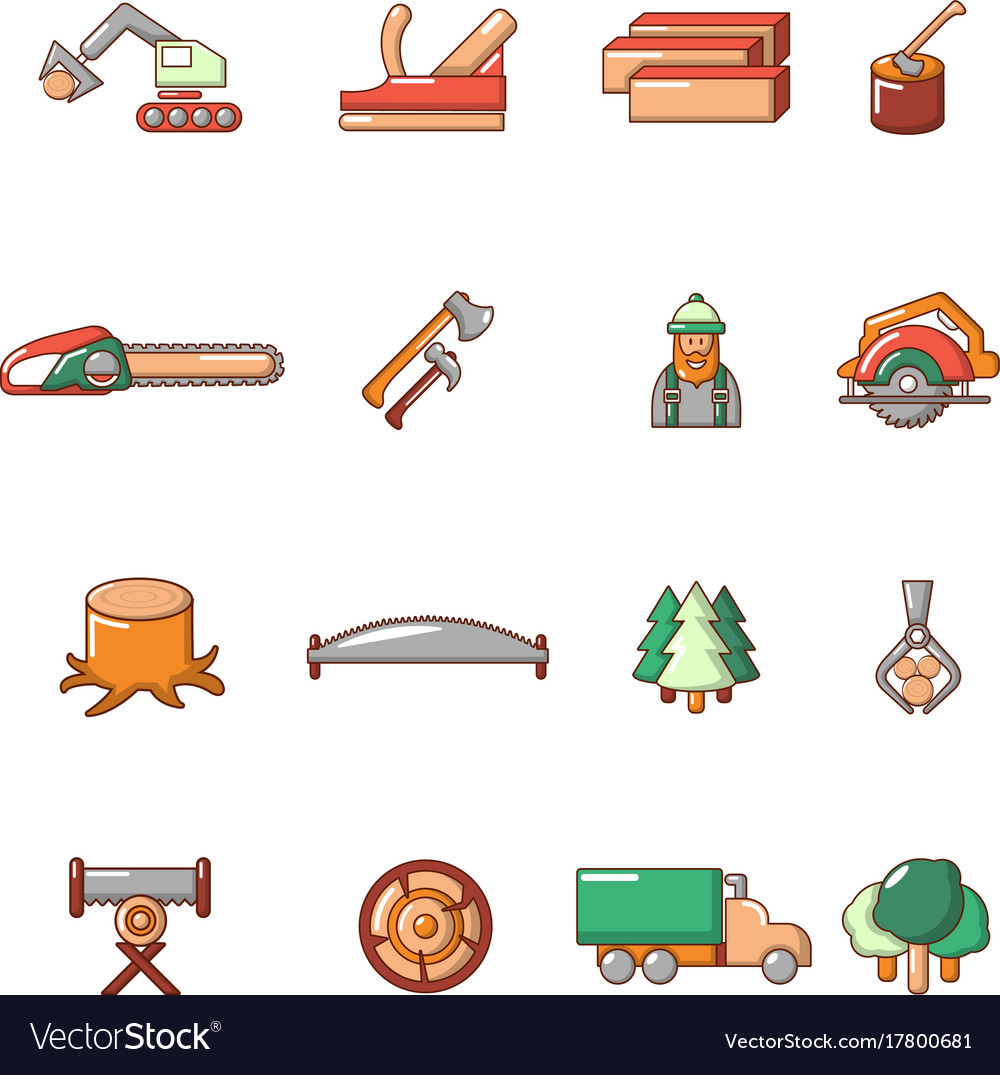 Timber industry icons set cartoon style