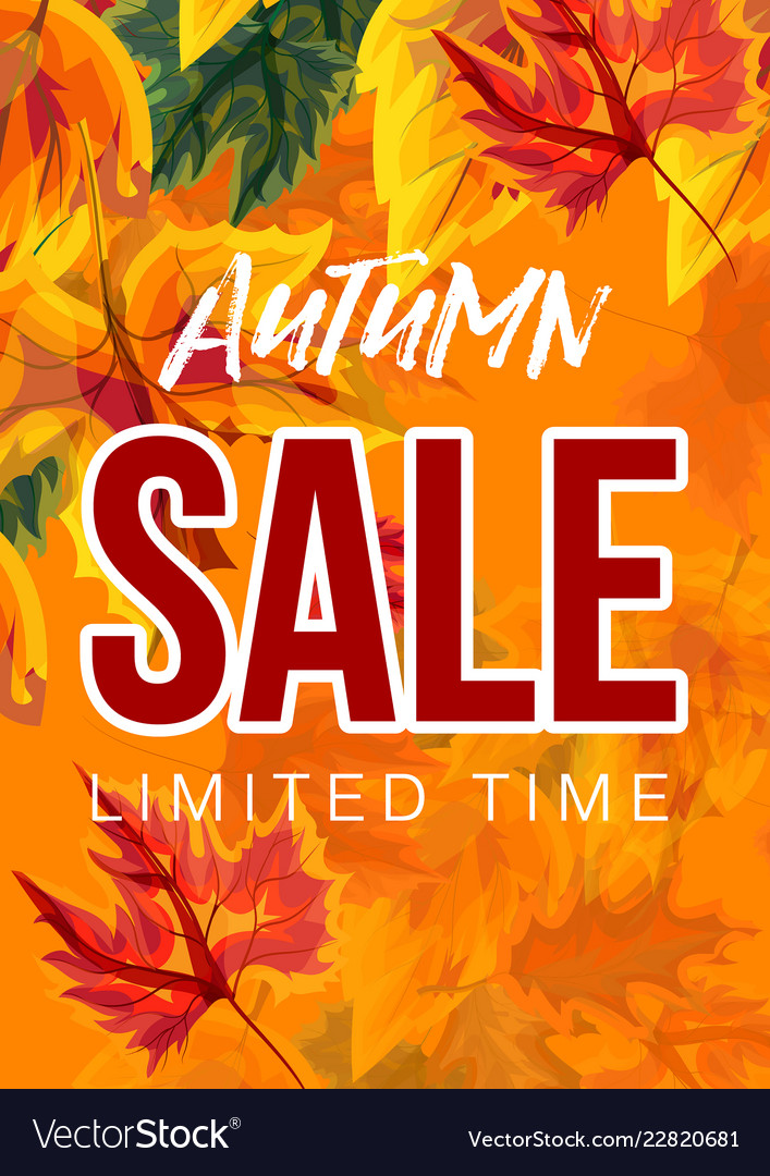 Vivid poster with autumn sale advertisement