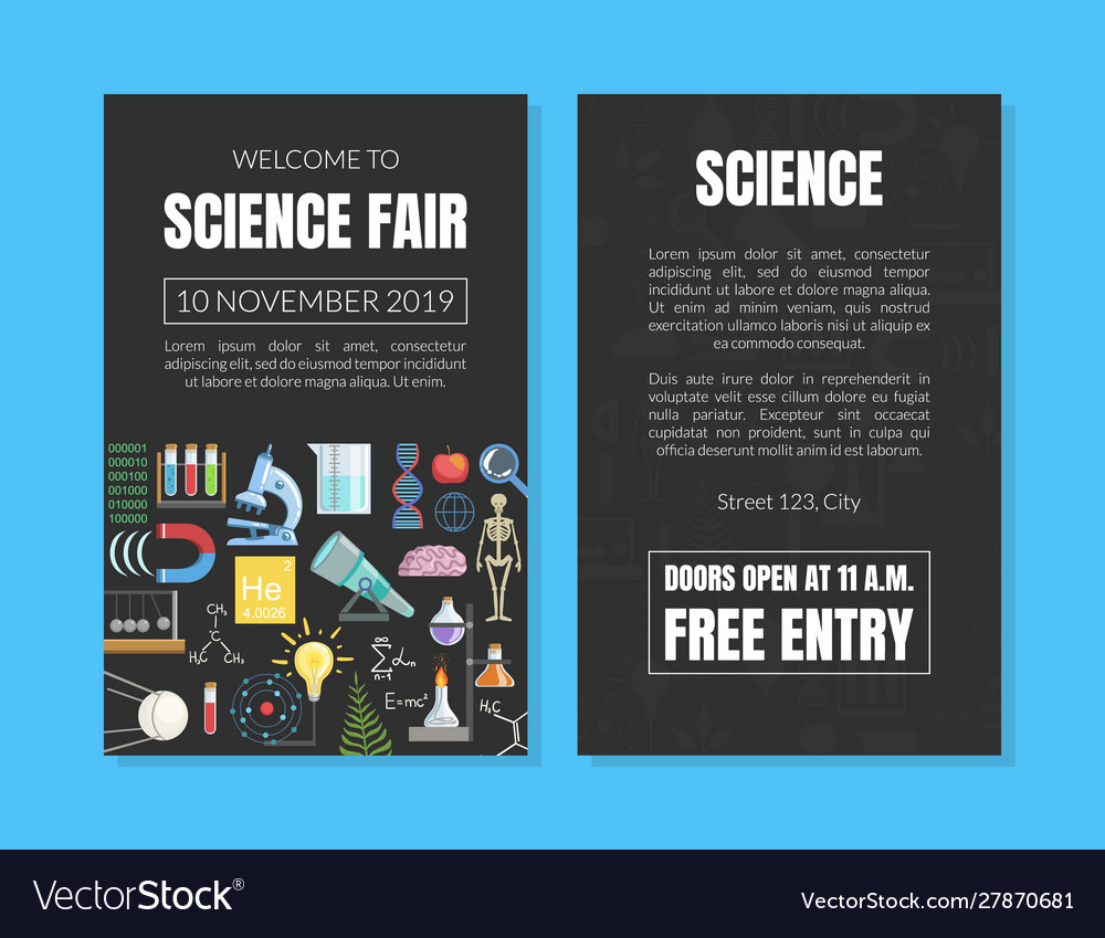 Welcome to science fair invitation card template Vector Image