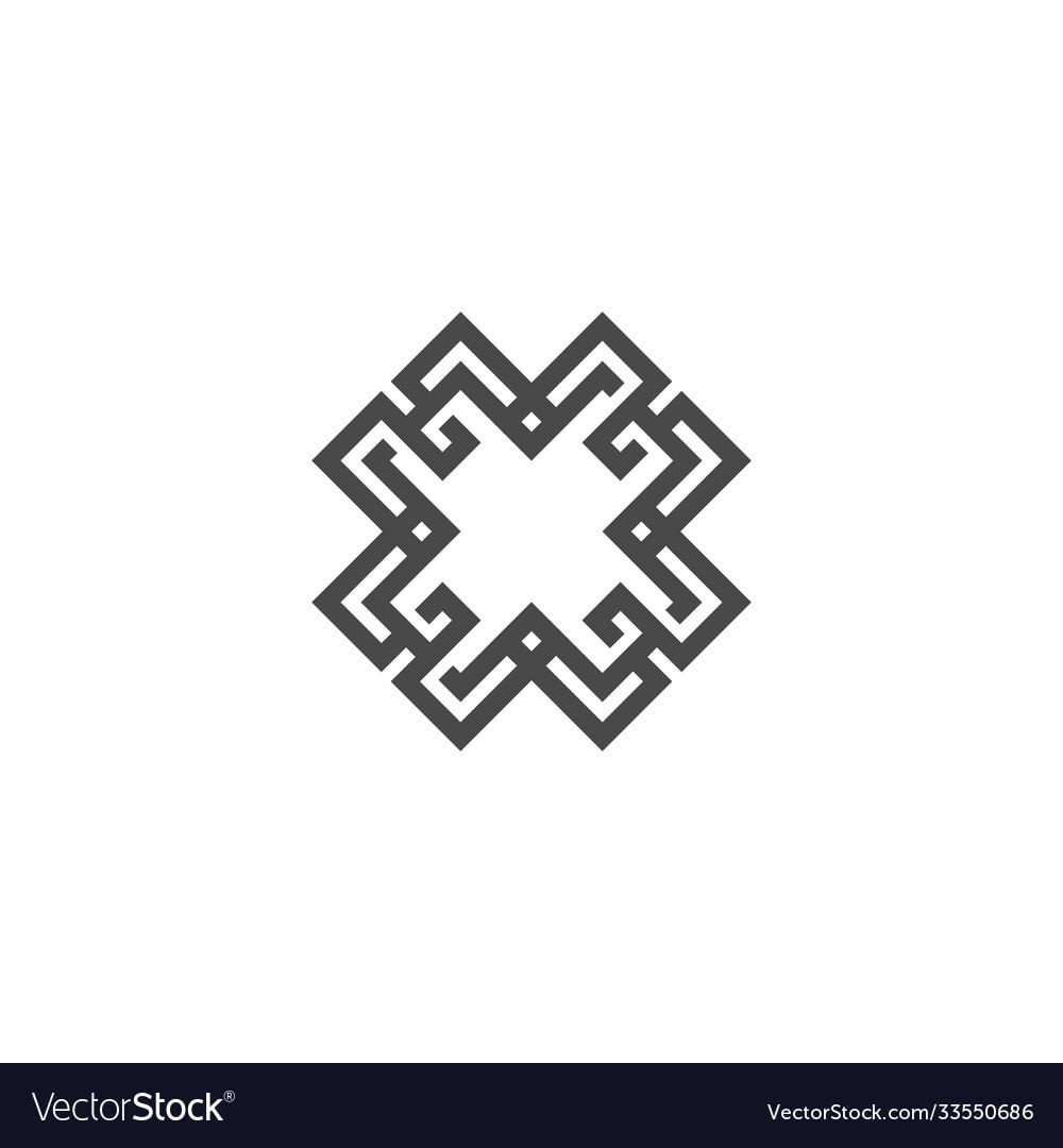 Abstract logo geometric shape futuristic x letter