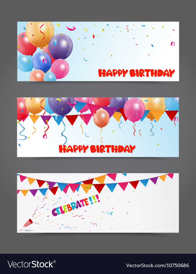 Birthday and celebration banner with colorful ball vector image