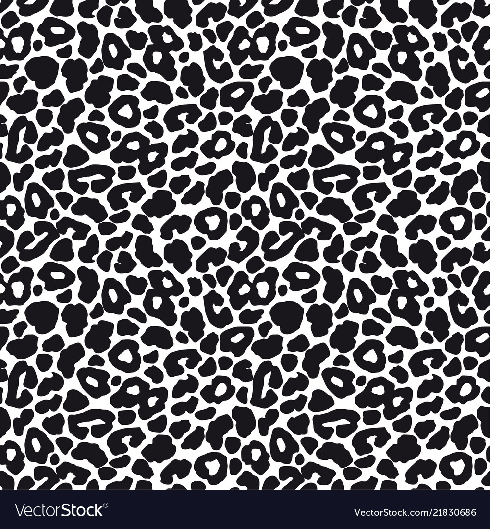 Black and white leopard seamless pattern animal