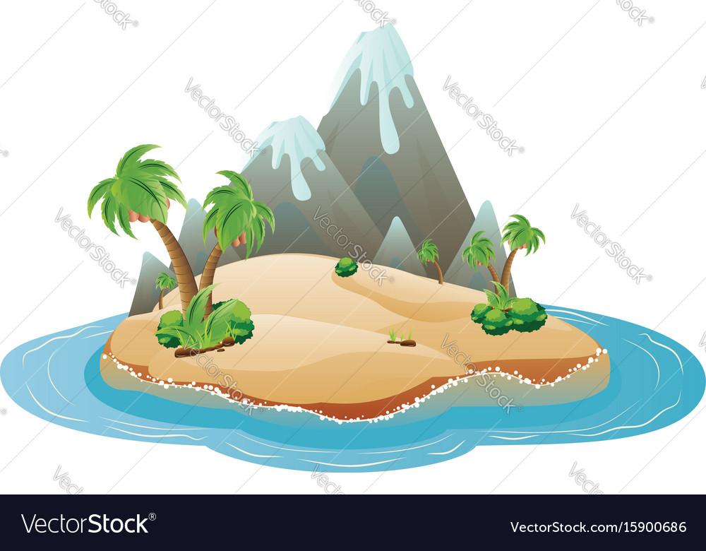 Cartoon volcano island vector image