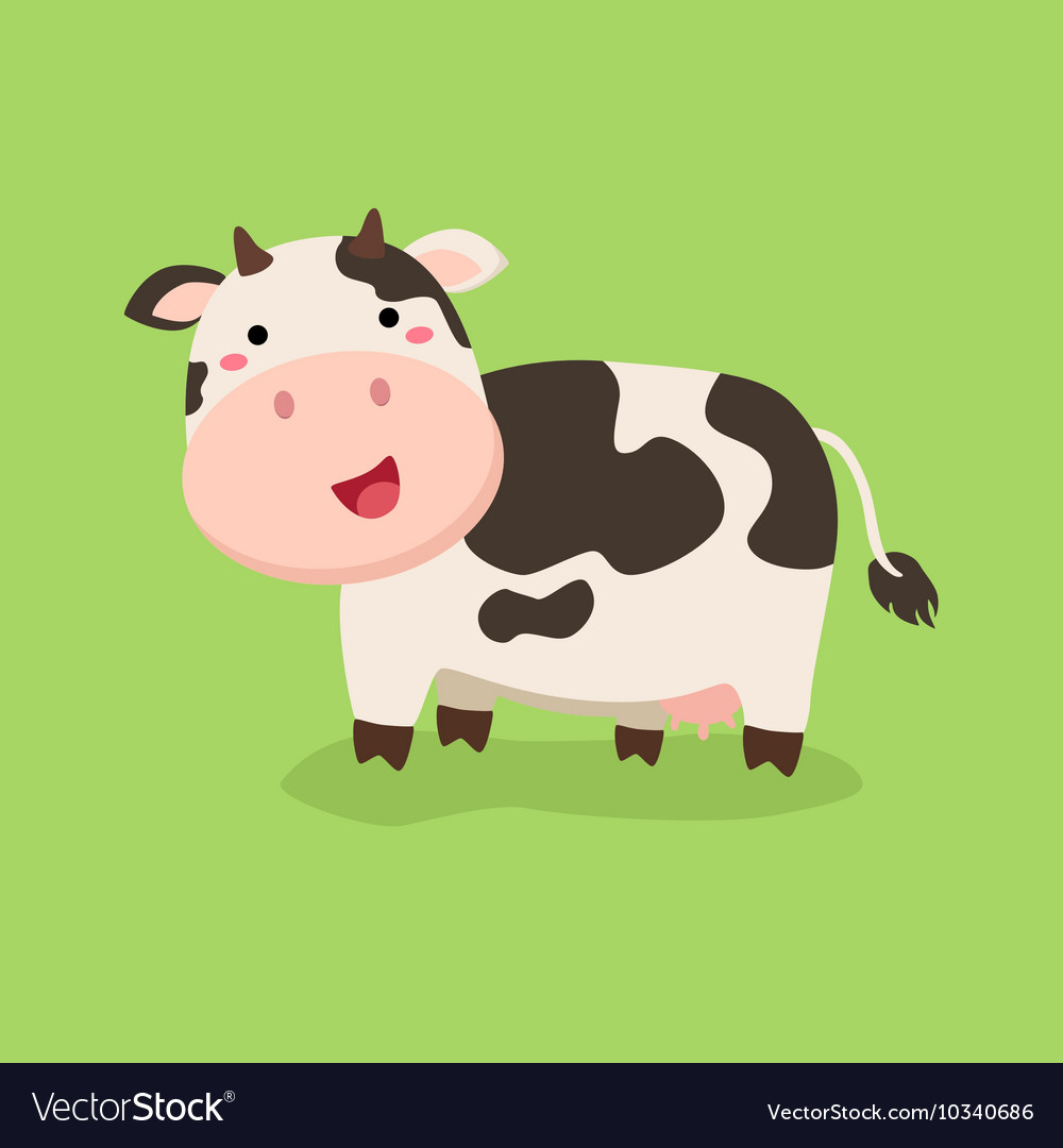 Cow standing. Cute in green background