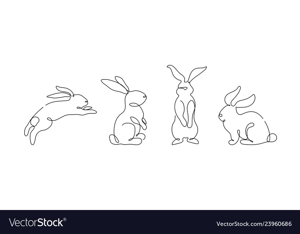 Easter bunny set in simple one line style rabbit