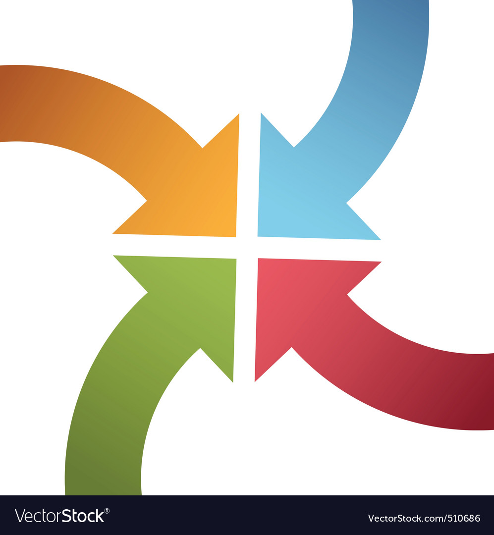 Four curve color arrows converge point center vector image