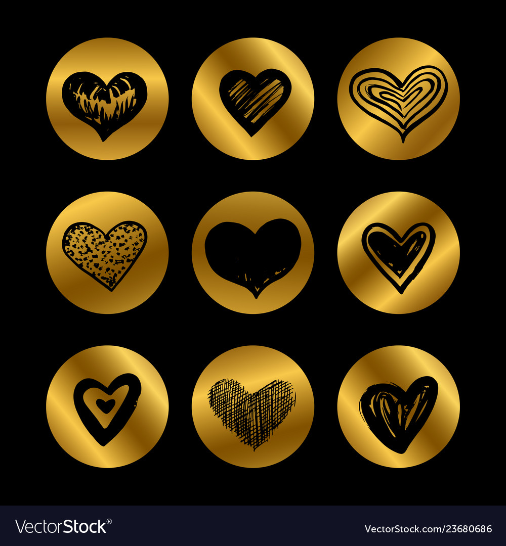 Gold icons with hand drawn black hearts set