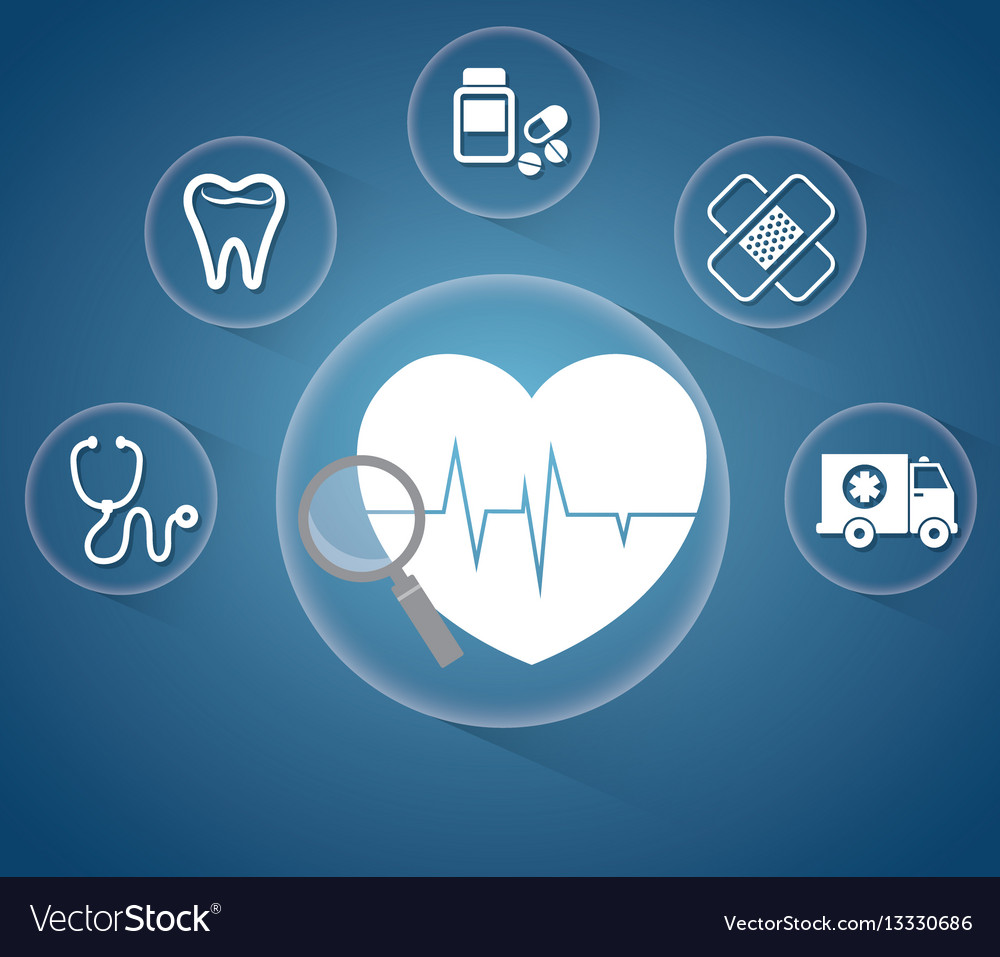 Heartbeat service medical icons
