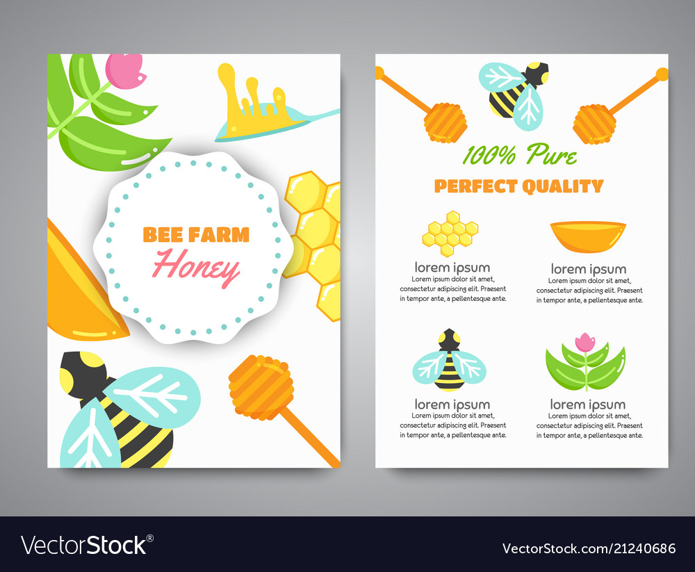 Honey newsletter with flat honey elements poster
