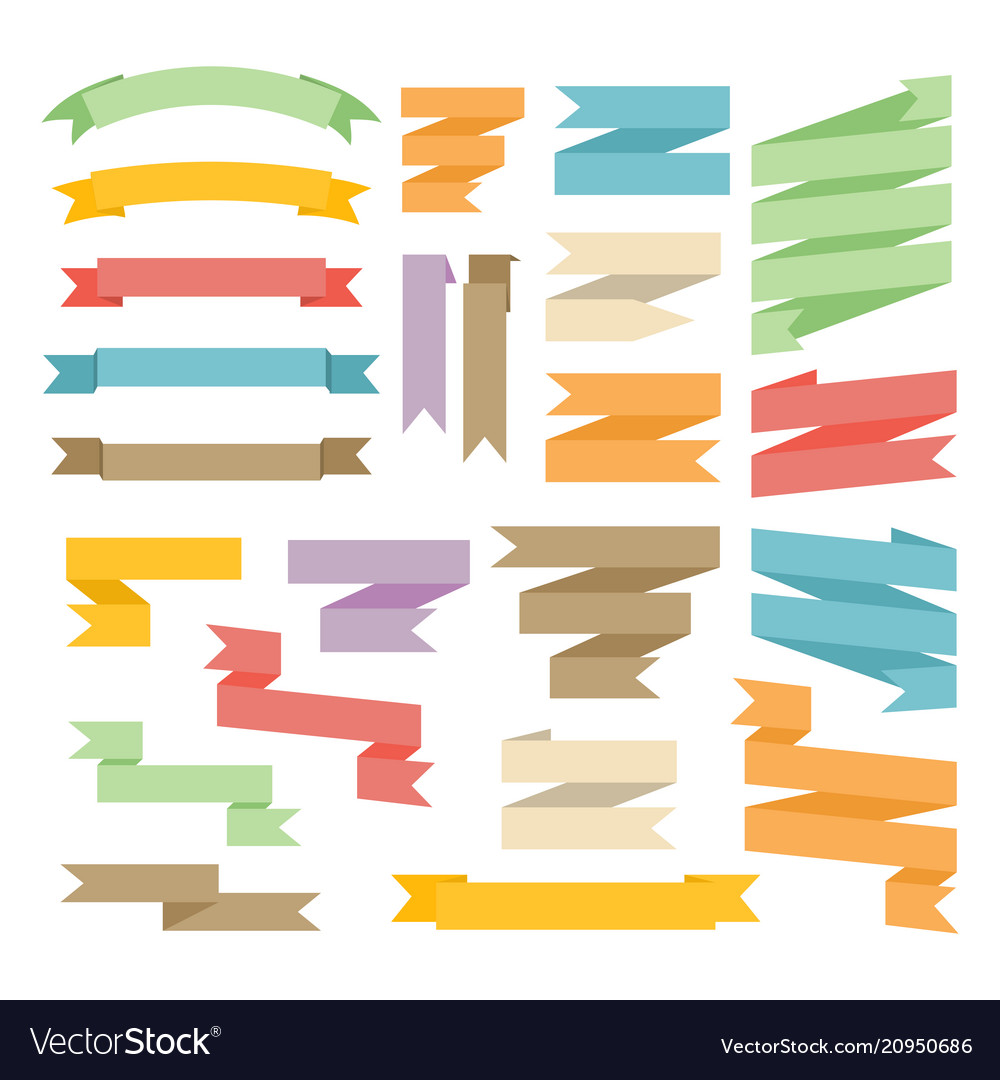 Ribbons with curl set isolated on white background vector image