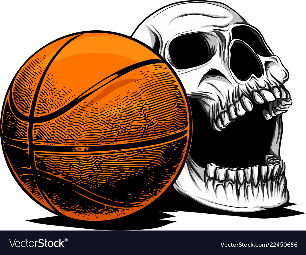 Skull basketball ball is head of skeleton emblem