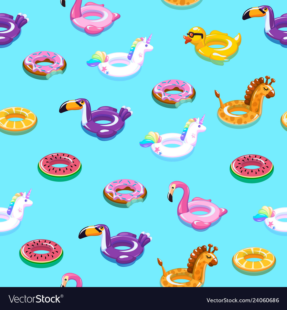 Swimming toys seamless pattern pool floating
