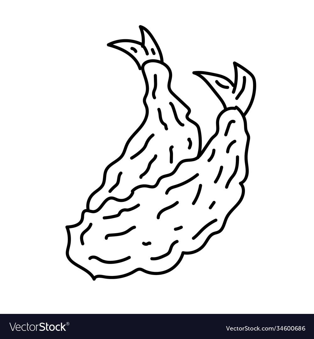 Tempura icon doodle hand drawn or black outline