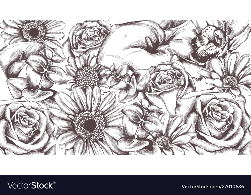 Vintage flowers pattern line art roses and