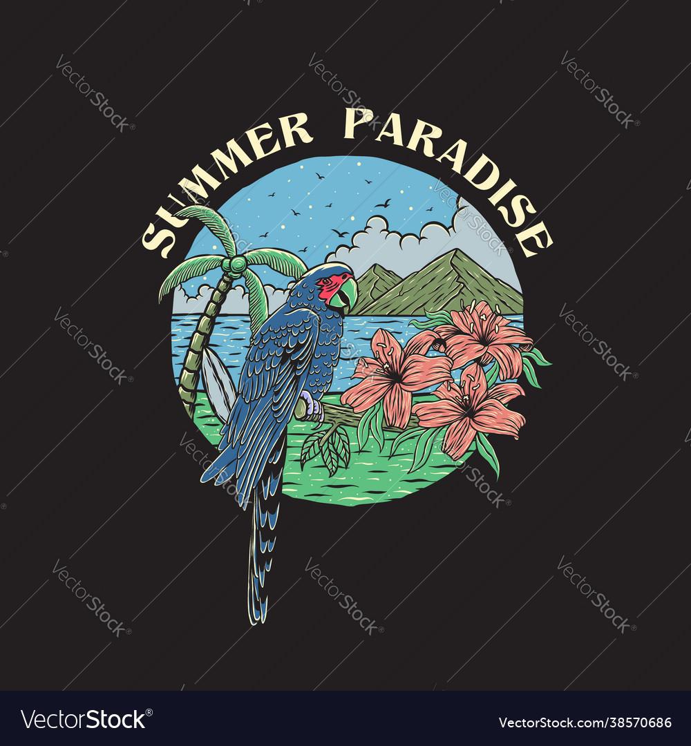 Vintage hand drawn summer paradise