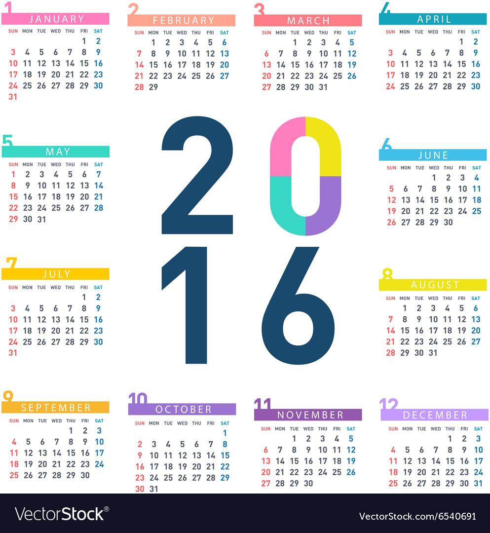 2016 square calendar vector image