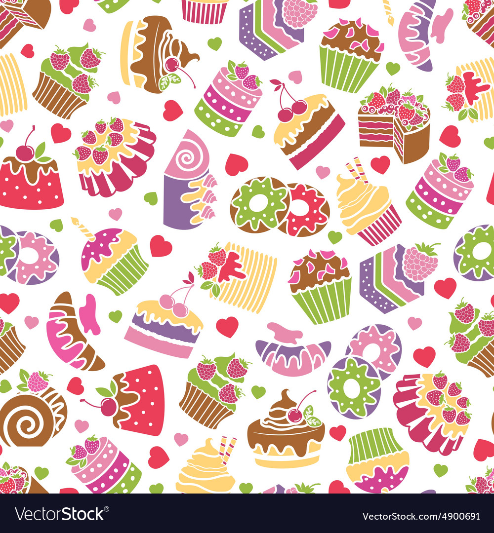Baking and desserts seamless pattern background vector image