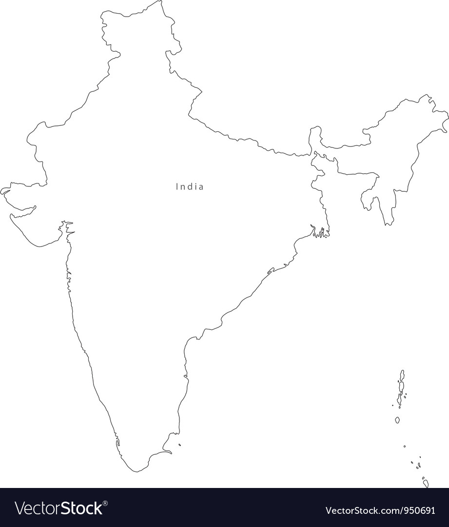 Black White India Outline Map