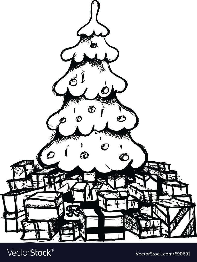 Christmas tree drawing vector image