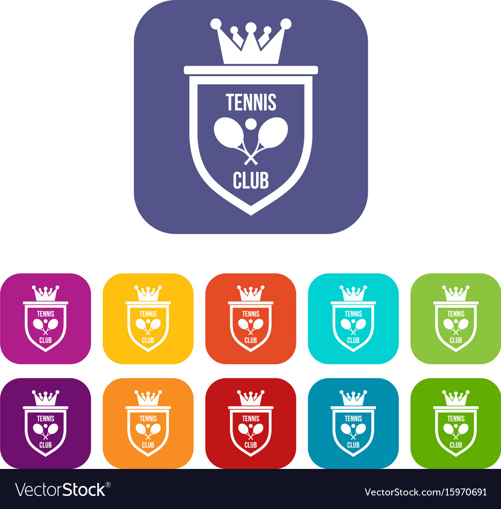 Coat of arms of tennis club icons set