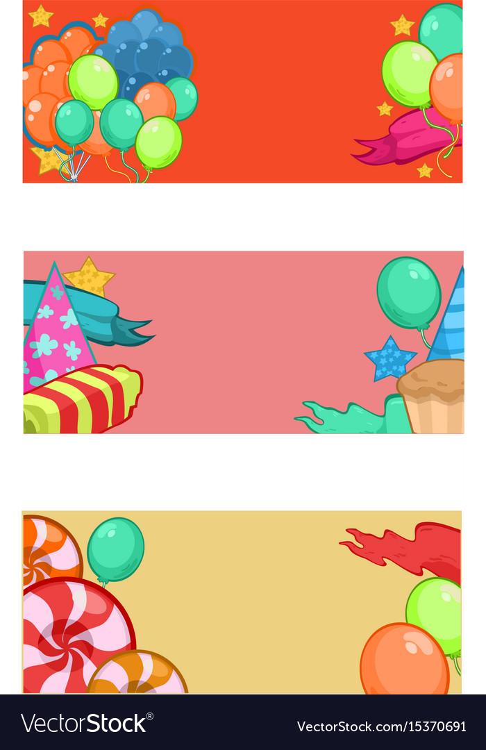 Colorful happy birthday horizontal banners
