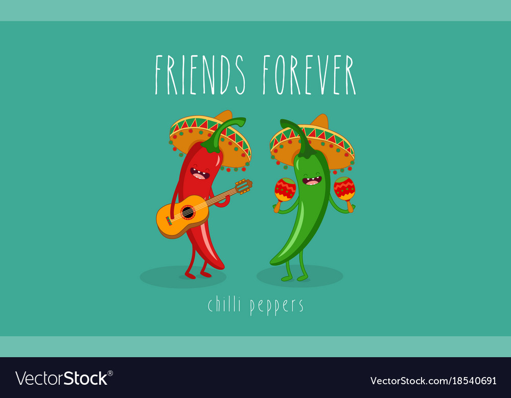 Green chili pepper cartoon character with mexican