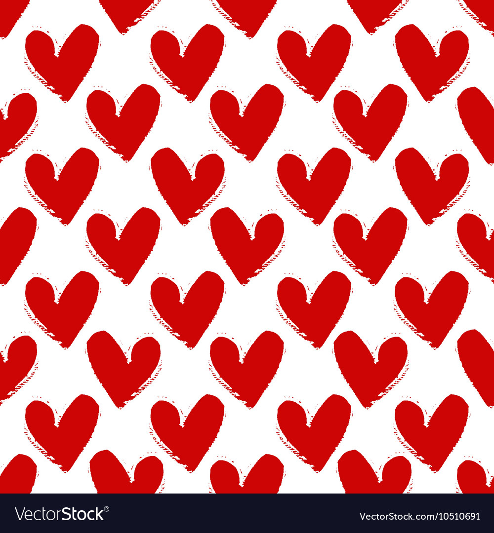 Hand-drawn painted red hearts seamless pattern