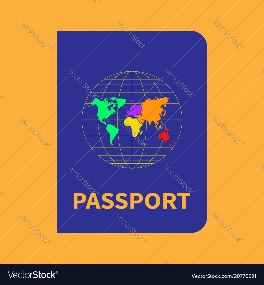 International blue passport with map and globe on vector image