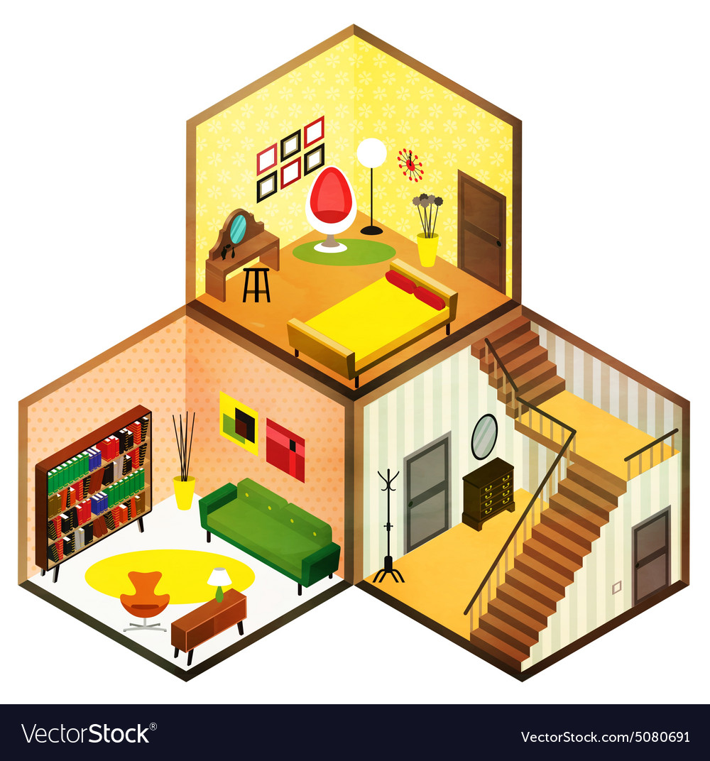Isometric rooms icon