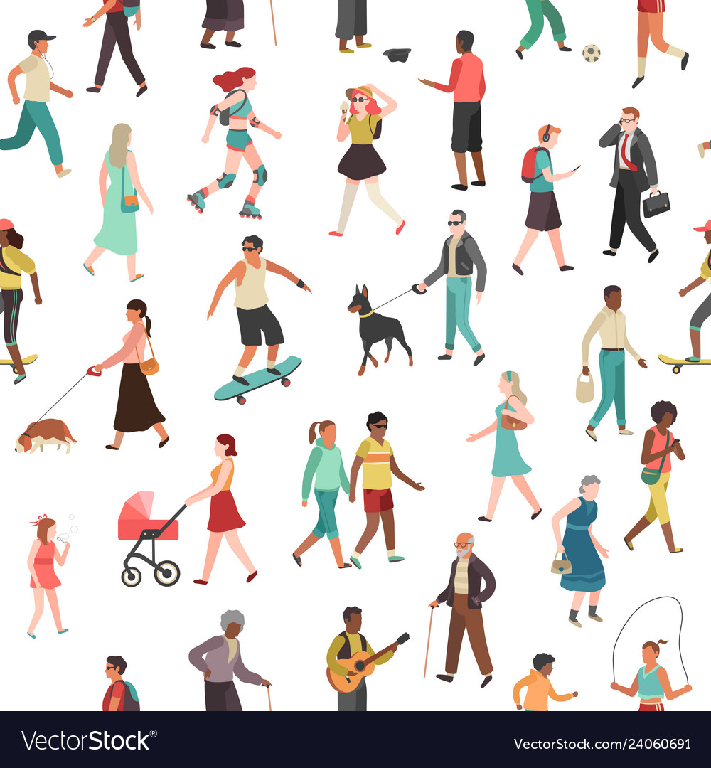 People walking seamless pattern women men
