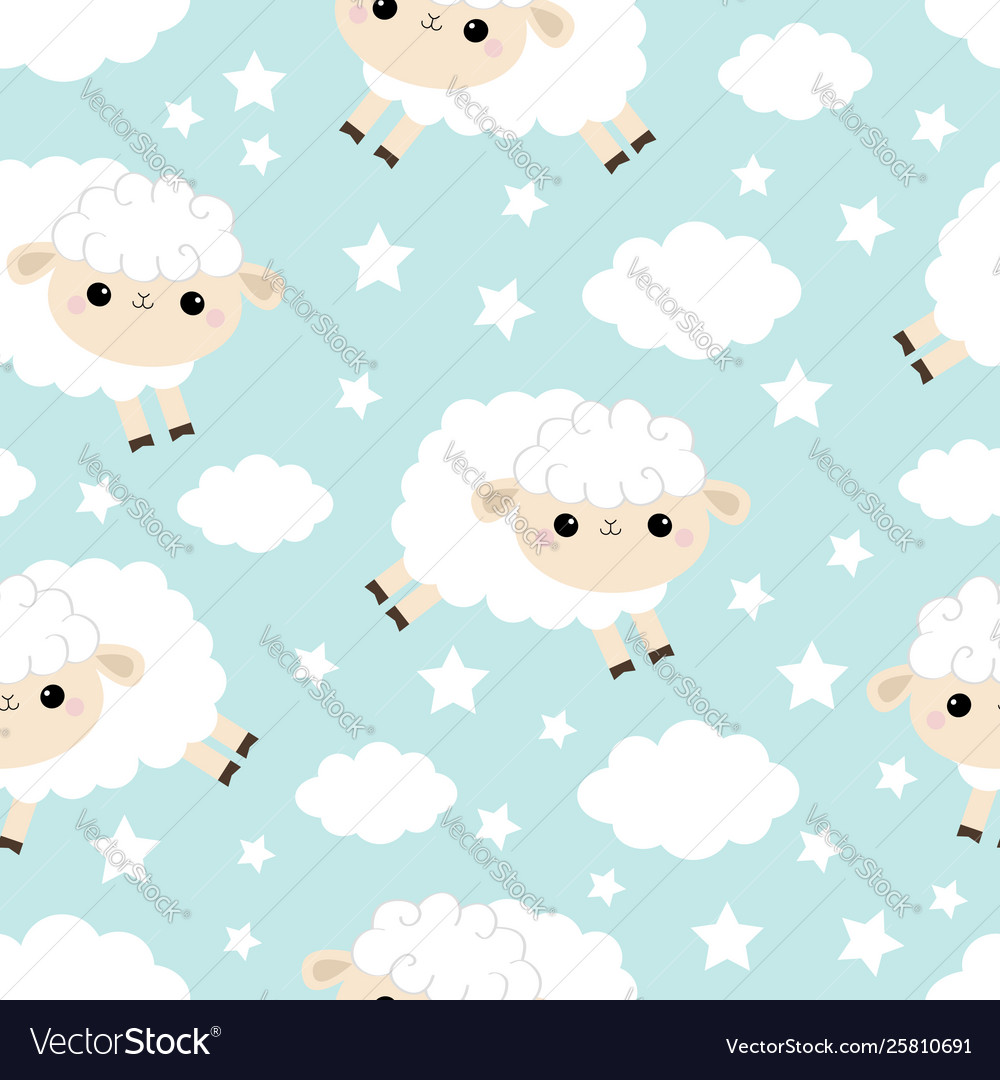 Seamless pattern cloud star in sky jumping