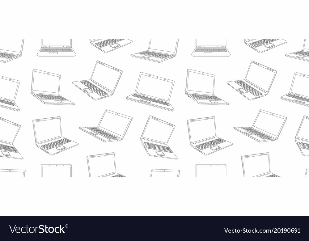 Seamless pattern of laptop line style design