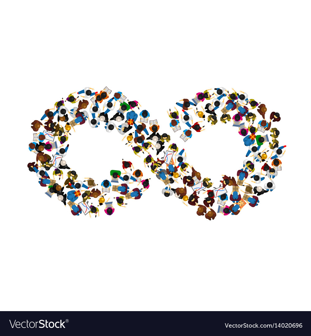 A Group Of People In A Shape Of Infinity Symbol On
