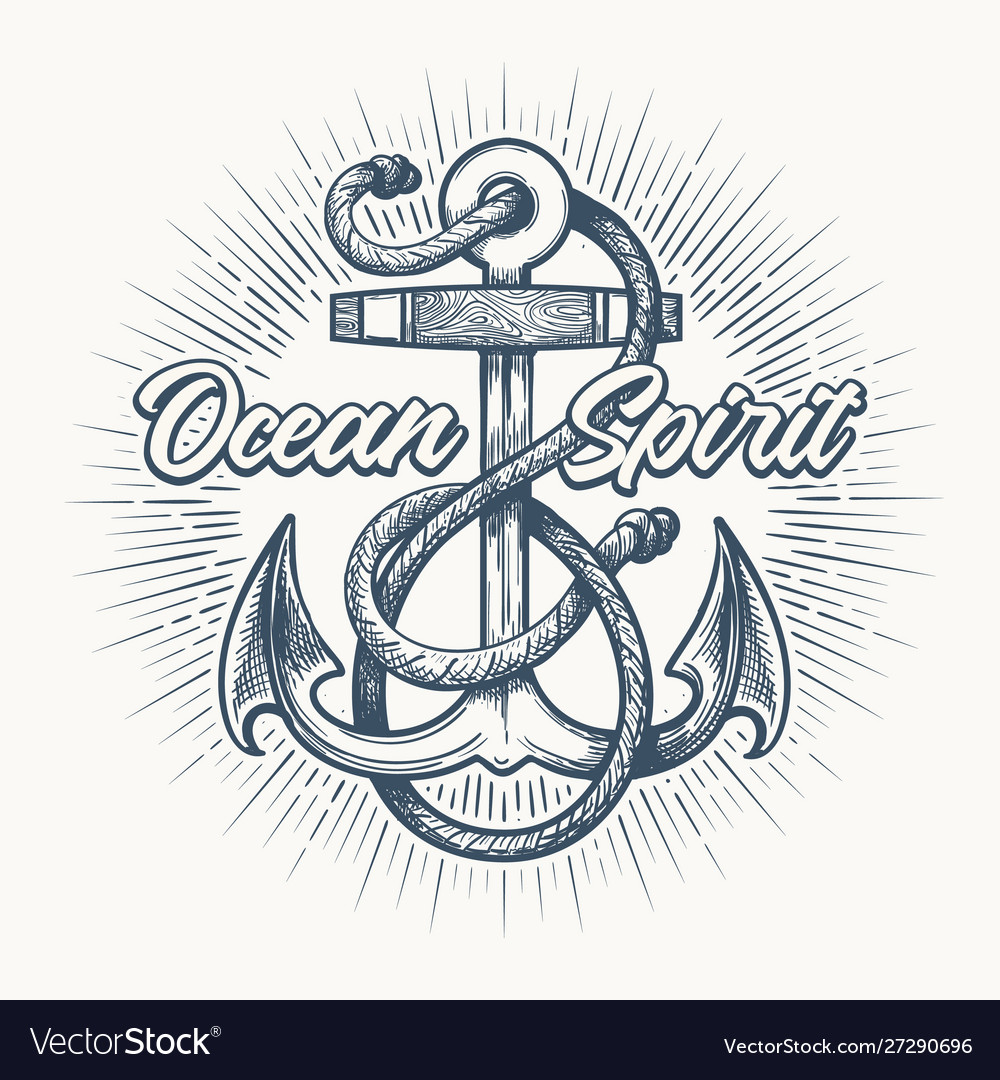 Anchor with ropes nautical tattoo emblem