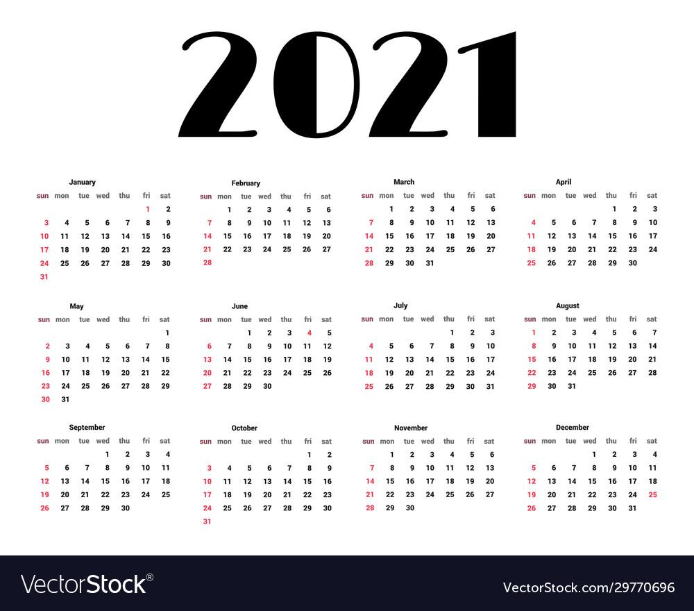 2021 Vector Calendar Calendar 2021 template tradicional calendar Vector Image