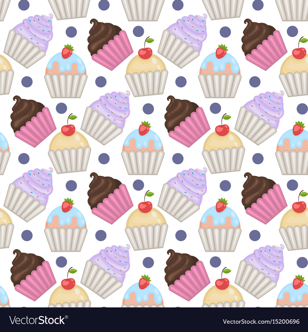 Cupcakes seamless pattern with polka dots