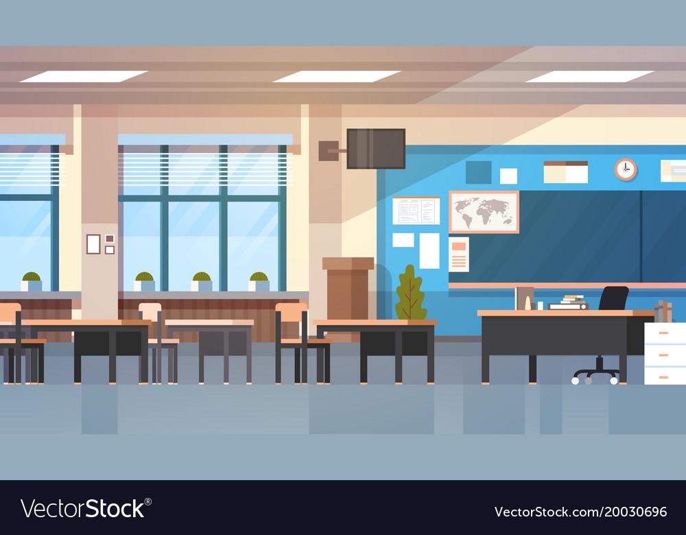 Empty school class room interior modern classroom vector image
