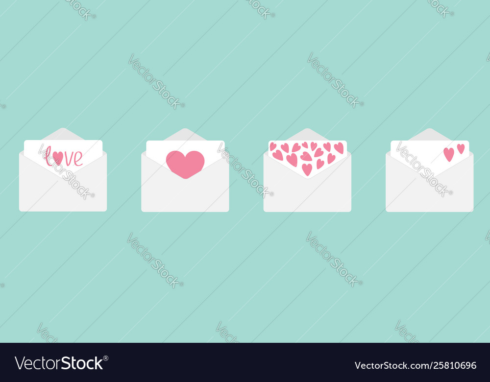 Four envelope with hearts set line happy