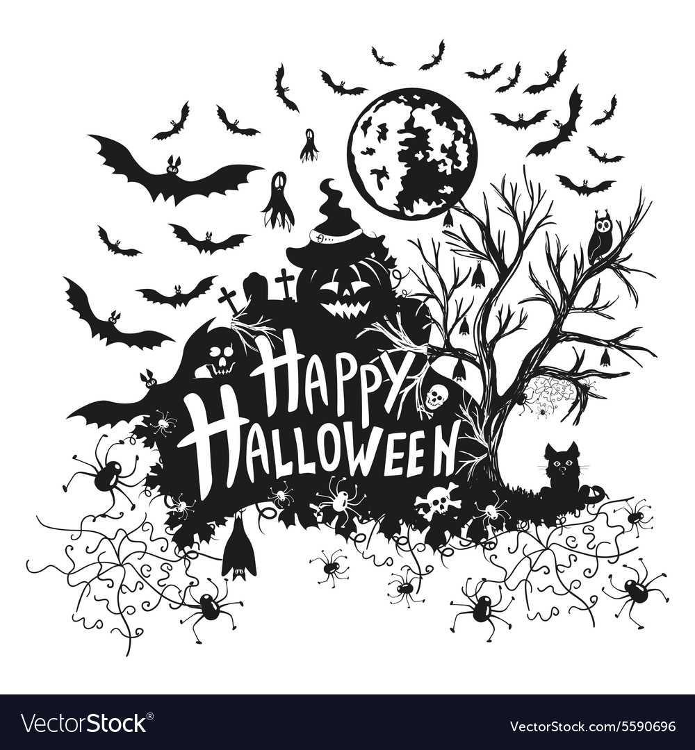 Halloween sign and icons for Halloween on a white vector image