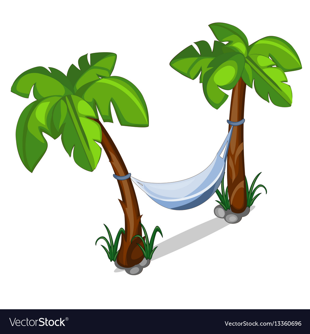 Hammock Hanging Between Two Palm Trees Royalty Free Vector
