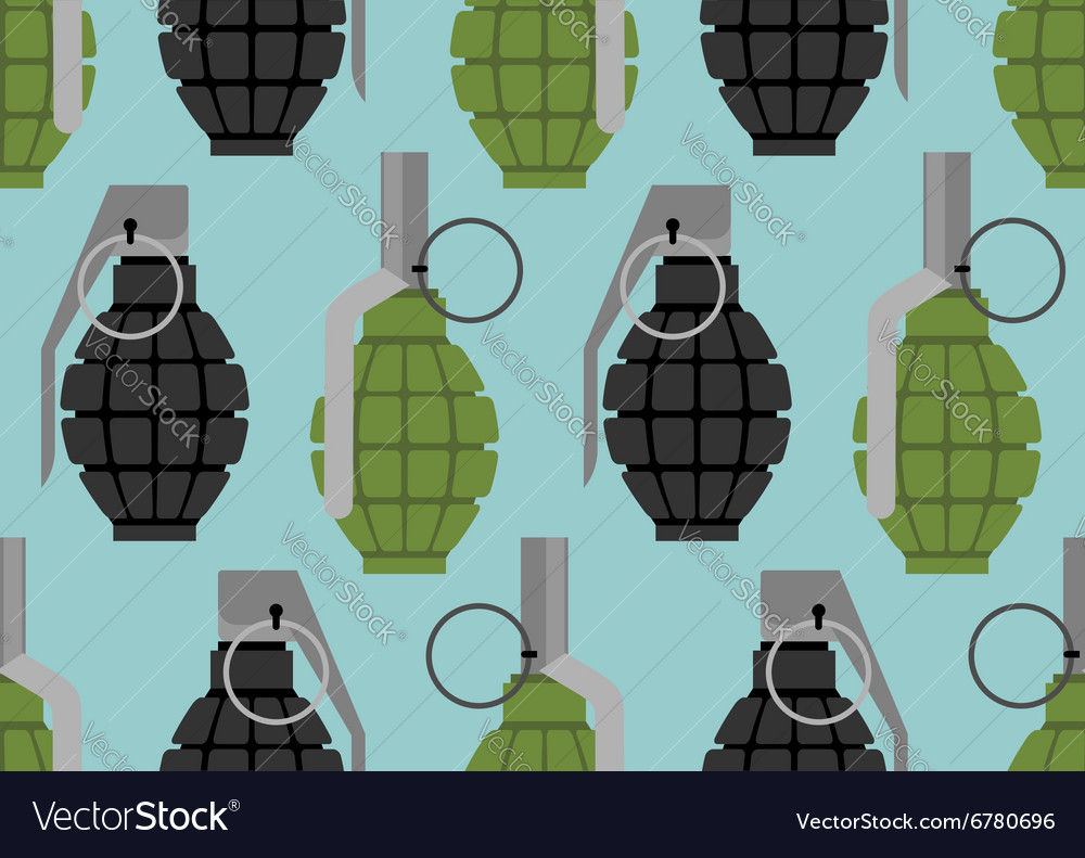 Hand grenade seamless pattern Military munition